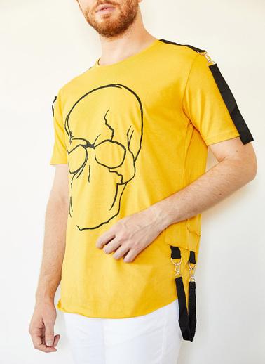 XHAN Kiremit Kuru Kafa Baskılı Şerit Detaylı Uzun T-Shirt 0Yxe1-44106-16 Sarı